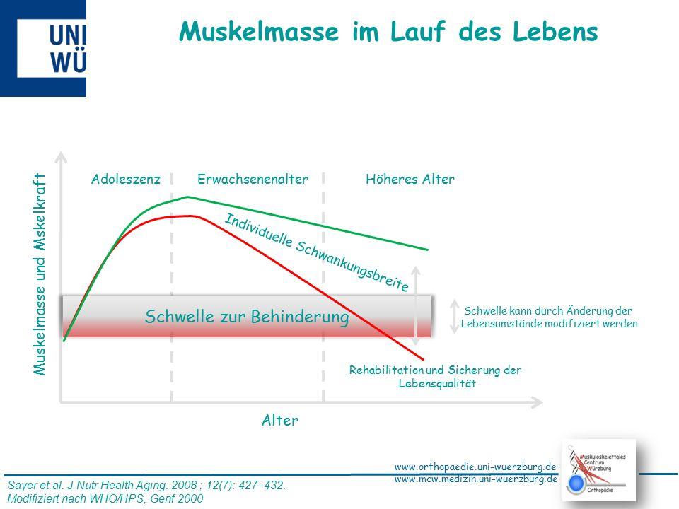 www.orthopaedie.uni-wuerzburg.de www.mcw.medizin.uni-wuerzburg.de Veränderte Relation von Muskel zu Fettgewebe im Alter Jung und aktiv alt und häufig sitzend Bauer et al., DMW 2008, 133, 305-310