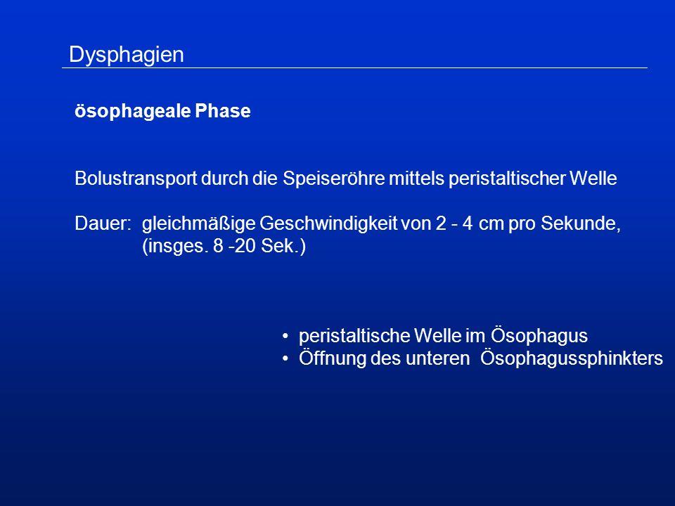 Dysphagien ösophageale Phase Bolustransport durch die Speiseröhre mittels peristaltischer Welle Dauer:gleichmäßige Geschwindigkeit von 2 - 4 cm pro Sekunde, (insges.