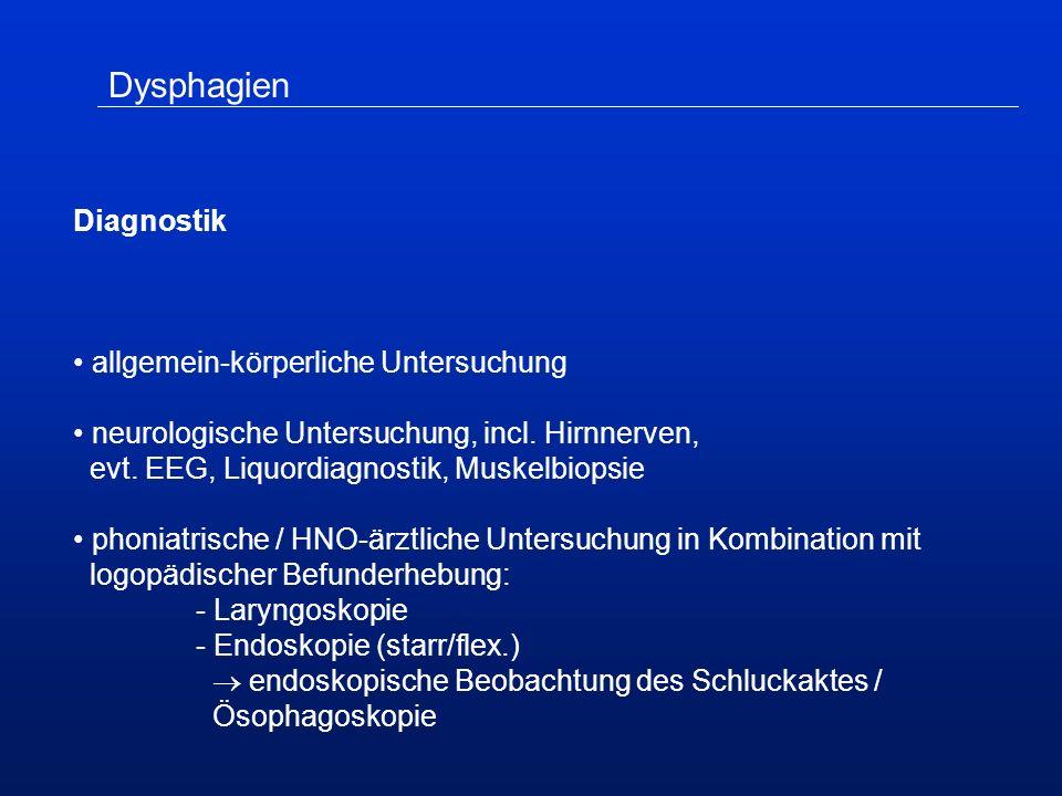 Dysphagien Diagnostik allgemein-körperliche Untersuchung neurologische Untersuchung, incl.