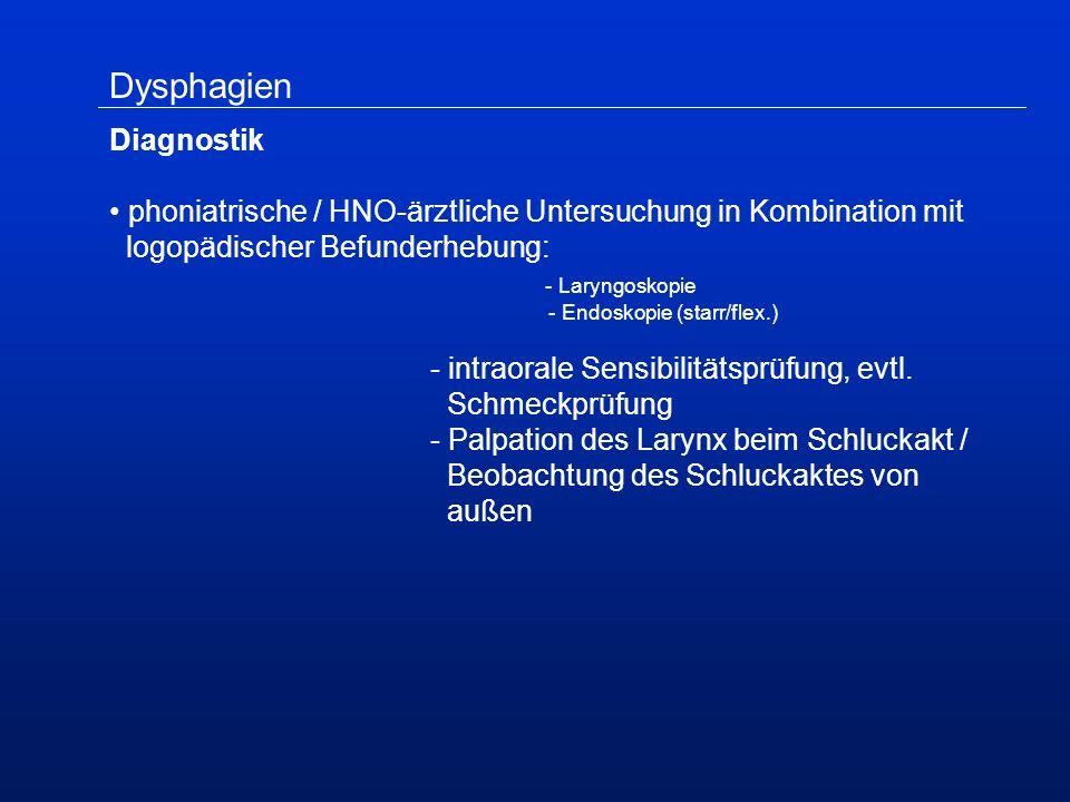 Dysphagien Diagnostik phoniatrische / HNO-ärztliche Untersuchung in Kombination mit logopädischer Befunderhebung: - Laryngoskopie - Endoskopie (starr/flex.) - intraorale Sensibilitätsprüfung, evtl.