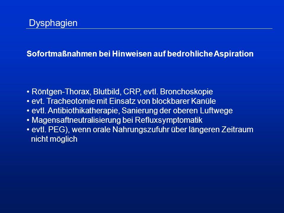 Dysphagien Sofortmaßnahmen bei Hinweisen auf bedrohliche Aspiration Röntgen-Thorax, Blutbild, CRP, evtl.