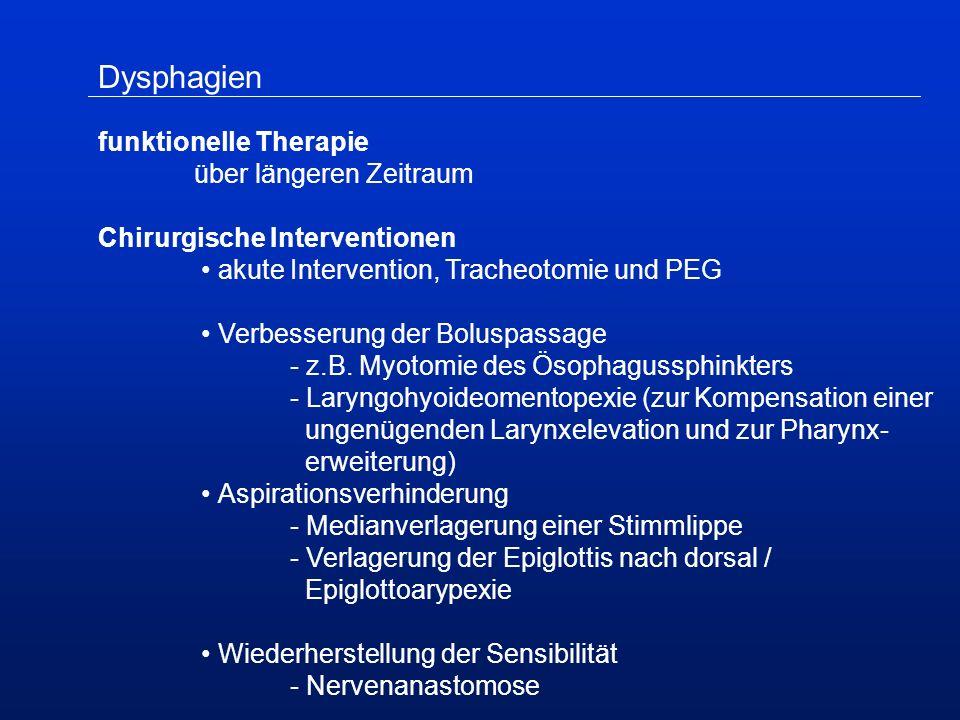 Dysphagien funktionelle Therapie über längeren Zeitraum Chirurgische Interventionen akute Intervention, Tracheotomie und PEG Verbesserung der Boluspassage - z.B.