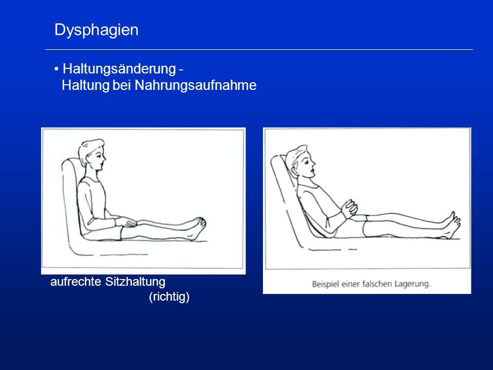 Dysphagien Haltungsänderung - Haltung bei Nahrungsaufnahme aufrechte Sitzhaltung (richtig)