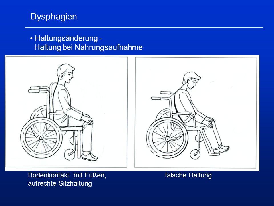 Dysphagien Haltungsänderung - Haltung bei Nahrungsaufnahme Bodenkontakt mit Füßen,falsche Haltung aufrechte Sitzhaltung
