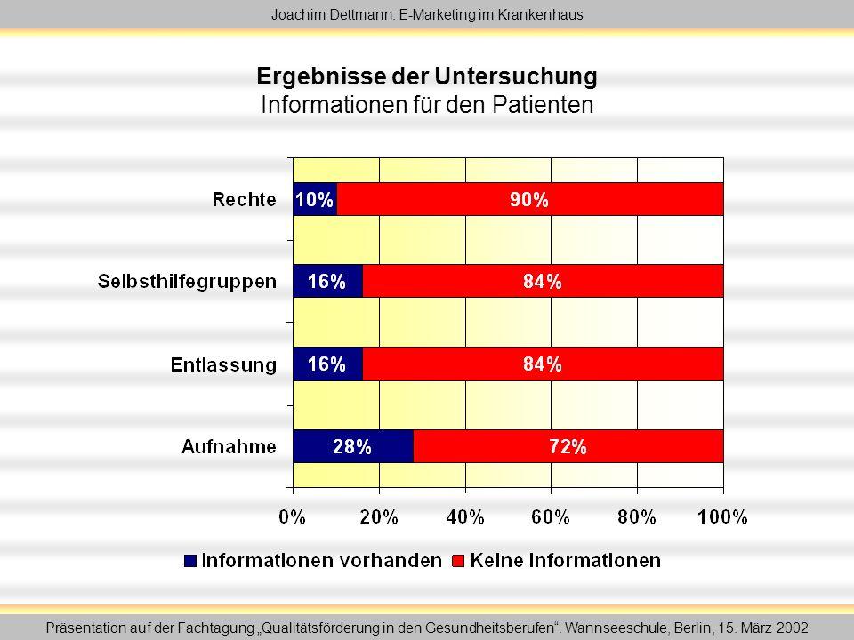 """Joachim Dettmann: E-Marketing im Krankenhaus Präsentation auf der Fachtagung """"Qualitätsförderung in den Gesundheitsberufen ."""