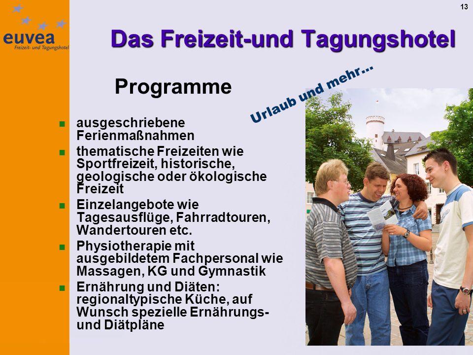 13 Programme ausgeschriebene Ferienmaßnahmen thematische Freizeiten wie Sportfreizeit, historische, geologische oder ökologische Freizeit Einzelangebote wie Tagesausflüge, Fahrradtouren, Wandertouren etc.