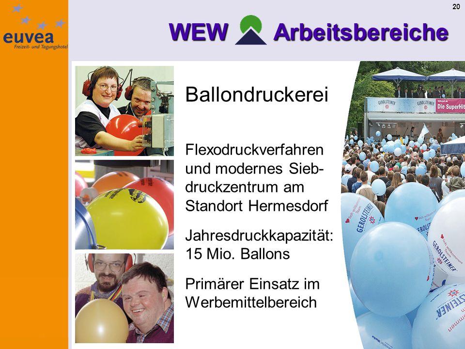 20 WEW Arbeitsbereiche Ballondruckerei Flexodruckverfahren und modernes Sieb- druckzentrum am Standort Hermesdorf Jahresdruckkapazität: 15 Mio.