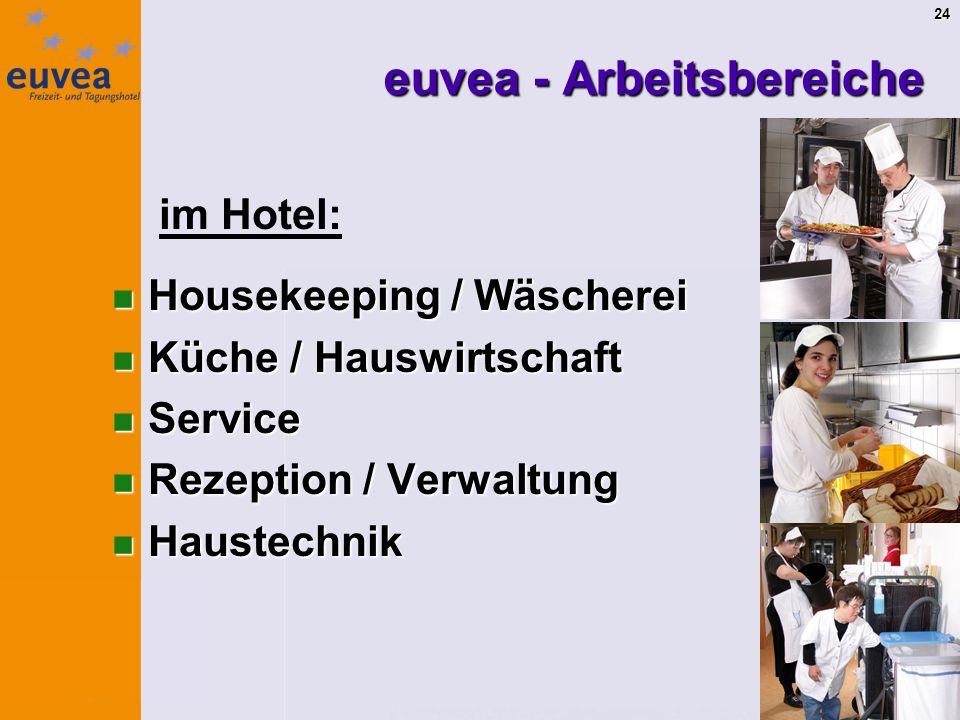 24 euvea - Arbeitsbereiche im Hotel: Housekeeping / Wäscherei Housekeeping / Wäscherei Küche / Hauswirtschaft Küche / Hauswirtschaft Service Service Rezeption / Verwaltung Rezeption / Verwaltung Haustechnik Haustechnik