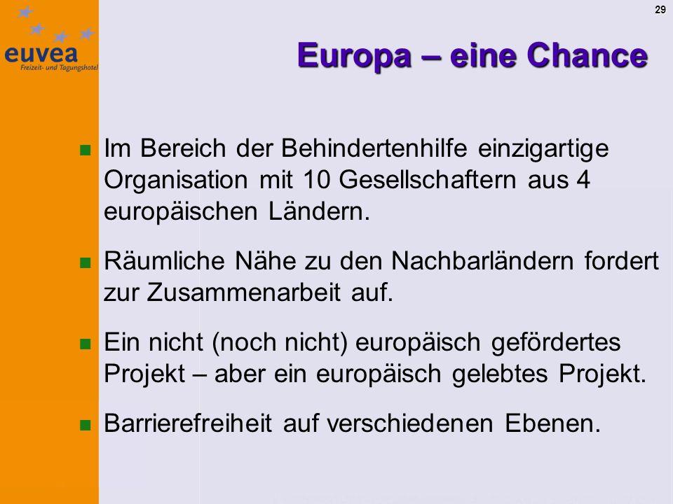 29 Europa – eine Chance Im Bereich der Behindertenhilfe einzigartige Organisation mit 10 Gesellschaftern aus 4 europäischen Ländern.