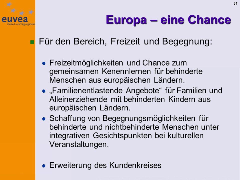 31 Europa – eine Chance Für den Bereich, Freizeit und Begegnung: Freizeitmöglichkeiten und Chance zum gemeinsamen Kenennlernen für behinderte Menschen aus europäischen Ländern.