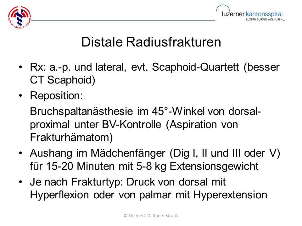 Distale Radiusfrakturen Rx: a.-p. und lateral, evt.