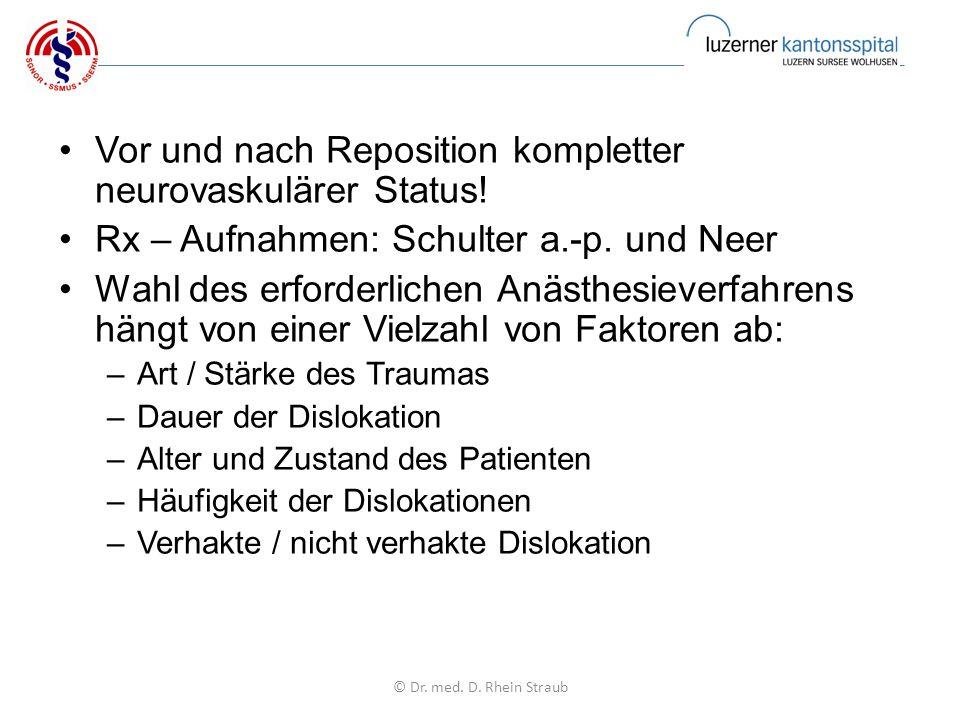 Vor und nach Reposition kompletter neurovaskulärer Status.
