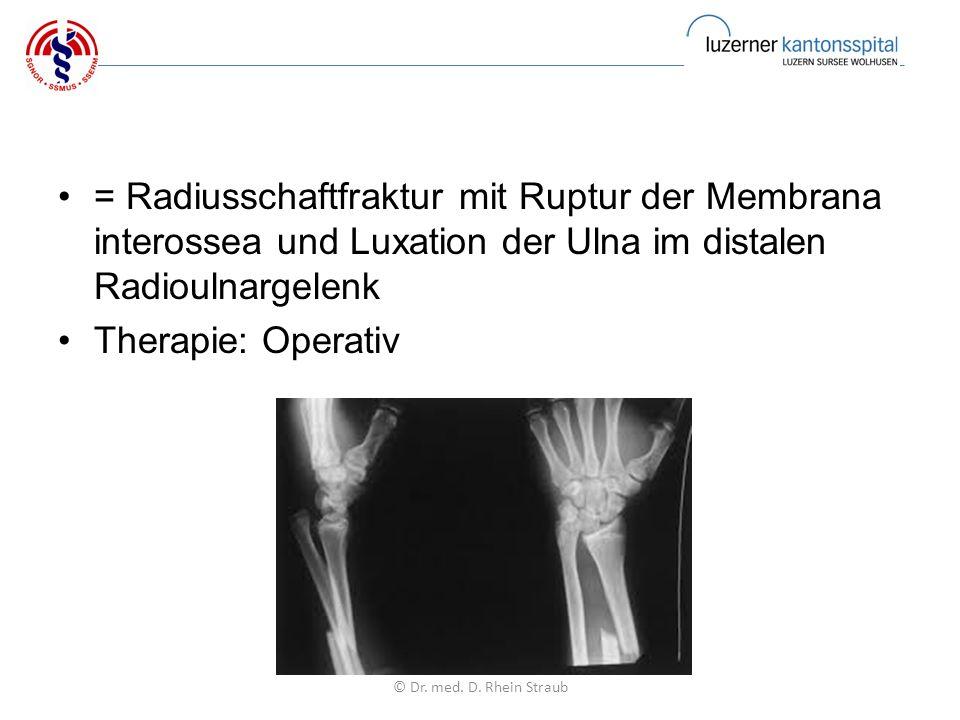 = Radiusschaftfraktur mit Ruptur der Membrana interossea und Luxation der Ulna im distalen Radioulnargelenk Therapie: Operativ © Dr.