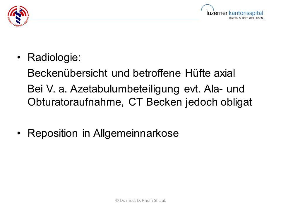 Radiologie: Beckenübersicht und betroffene Hüfte axial Bei V.