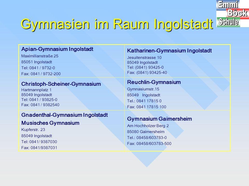 Gymnasien im Raum Ingolstadt Apian-Gymnasium Ingolstadt Maximilianstraße 25 85051 Ingolstadt Tel: 0841 / 9732-0 Fax: 0841 / 9732-200 Katharinen-Gymnas