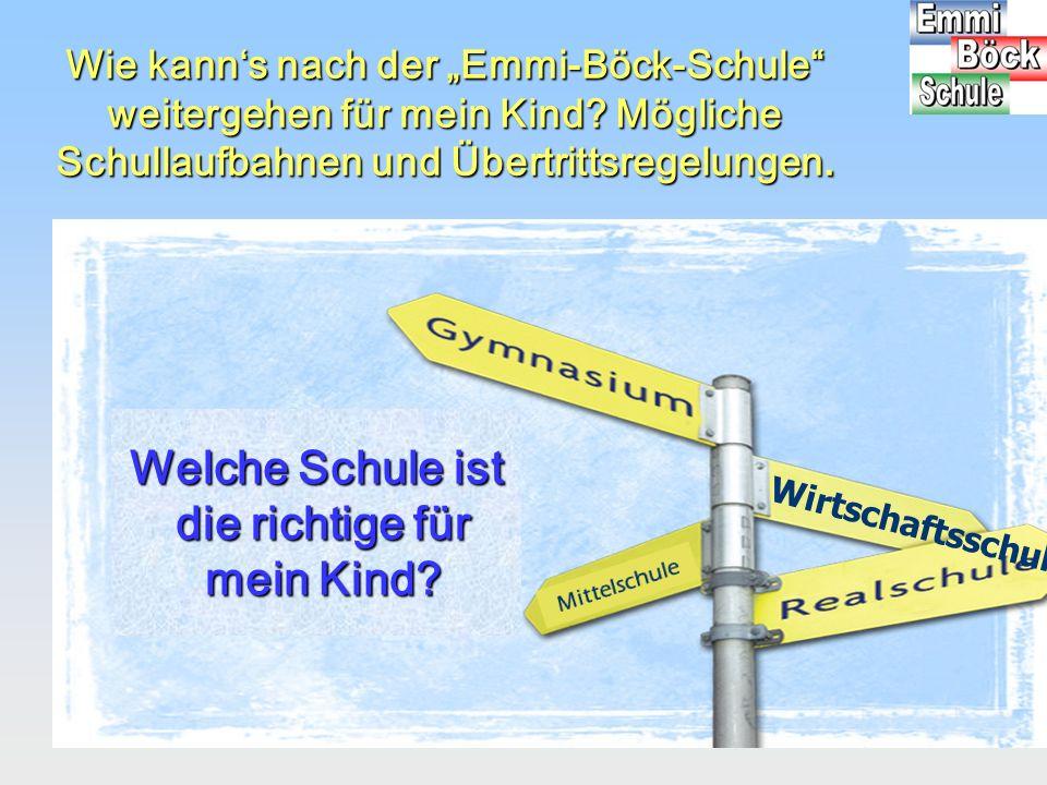 """Wie kann's nach der """"Emmi-Böck-Schule"""" weitergehen für mein Kind? Mögliche Schullaufbahnen und Übertrittsregelungen. Welche Schule ist die richtige fü"""