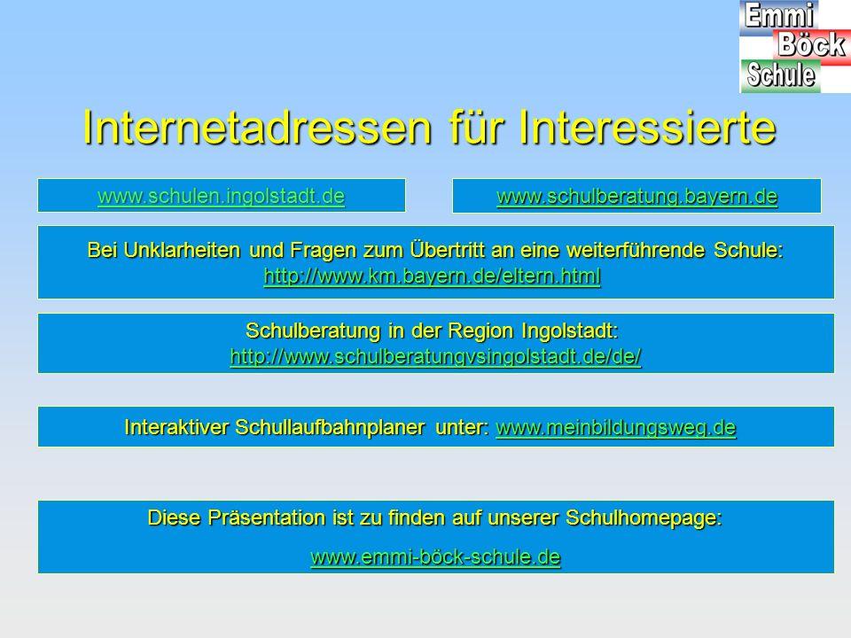Internetadressen für Interessierte Bei Unklarheiten und Fragen zum Übertritt an eine weiterführende Schule: http://www.km.bayern.de/eltern.html Schulb