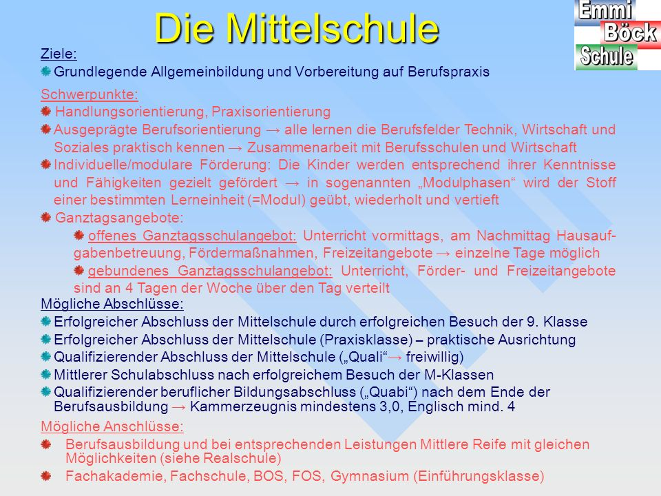 """Der M-Zweig an der Mittelschule Bei guten Leistungen ist der Besuch der """"Mittlere-Reife-Klassen (M-Zug) von der 7."""