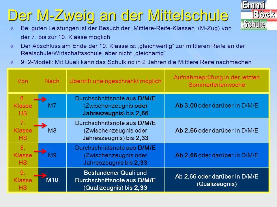 """Der M-Zweig an der Mittelschule Bei guten Leistungen ist der Besuch der """"Mittlere-Reife-Klassen"""" (M-Zug) von der 7. bis zur 10. Klasse möglich. Der Ab"""