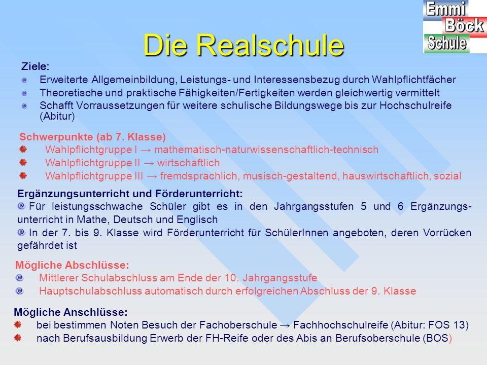 Übertritt an die Realschule Uneingeschränkt möglich Möglich nach Probeunterricht mit anschließender Prüfung in Deutsch und Mathe Aus 4.
