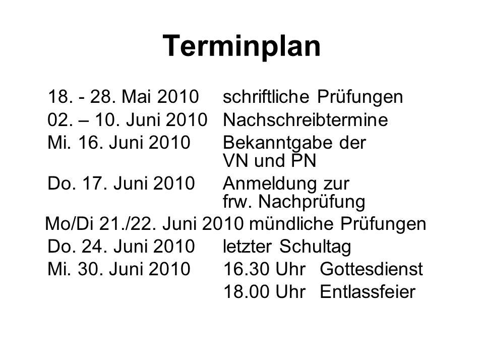 Terminplan 18. - 28. Mai 2010schriftliche Prüfungen 02.