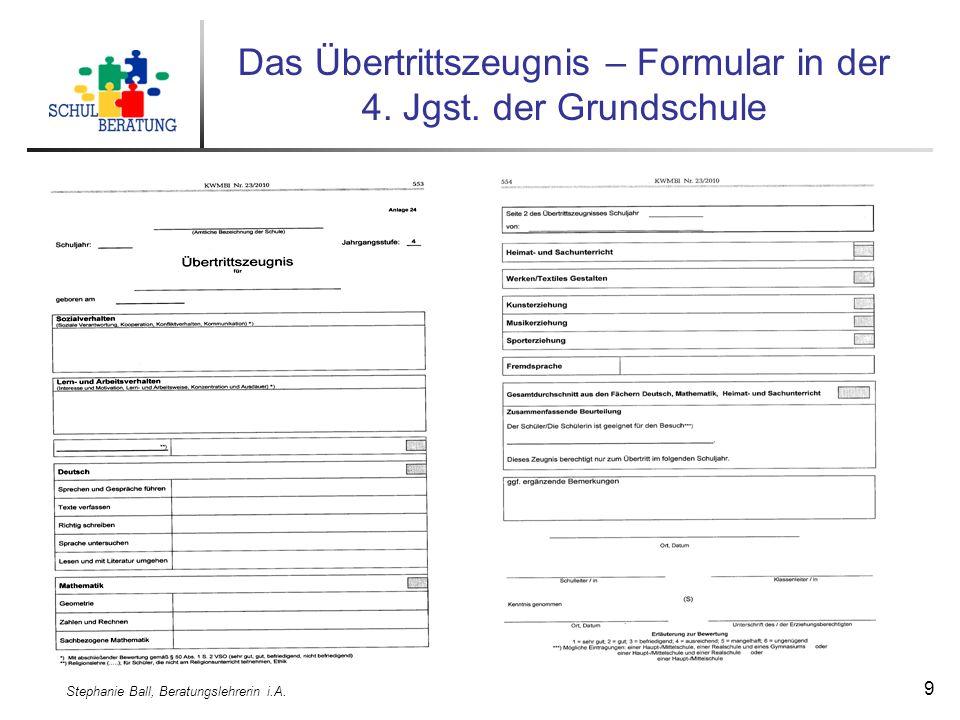 Stephanie Ball, Beratungslehrerin i.A. 9 Das Übertrittszeugnis – Formular in der 4.