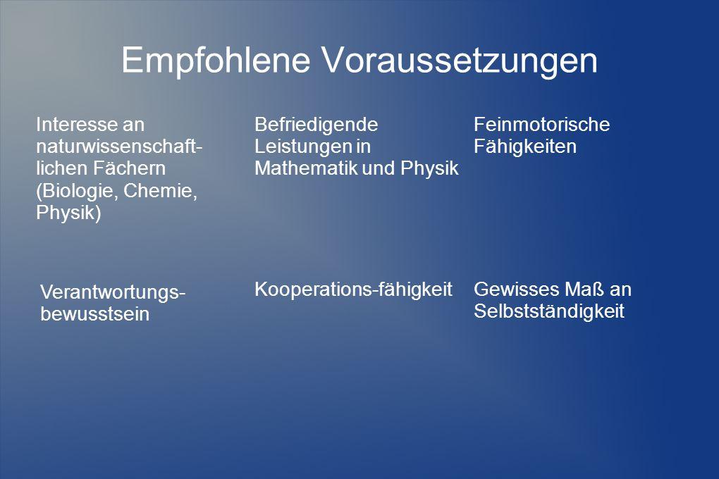 Empfohlene Voraussetzungen Interesse an naturwissenschaft- lichen Fächern (Biologie, Chemie, Physik) Befriedigende Leistungen in Mathematik und Physik Feinmotorische Fähigkeiten Gewisses Maß an Selbstständigkeit Kooperations-fähigkeit Verantwortungs- bewusstsein
