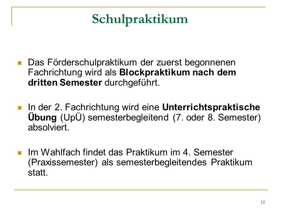 Schulpraktikum Das Förderschulpraktikum der zuerst begonnenen Fachrichtung wird als Blockpraktikum nach dem dritten Semester durchgeführt.