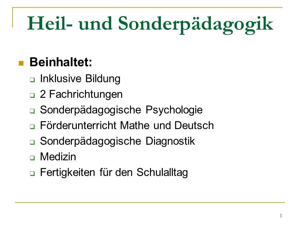 Heil- und Sonderpädagogik Beinhaltet:  Inklusive Bildung  2 Fachrichtungen  Sonderpädagogische Psychologie  Förderunterricht Mathe und Deutsch  Sonderpädagogische Diagnostik  Medizin  Fertigkeiten für den Schulalltag 5