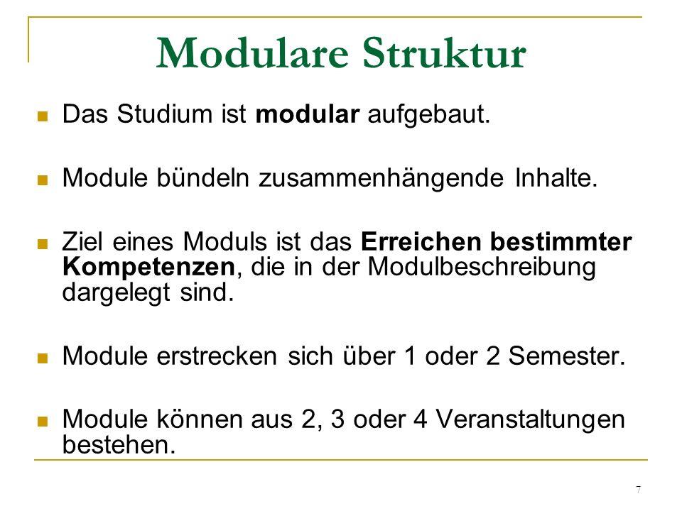 Modulare Struktur Das Studium ist modular aufgebaut.