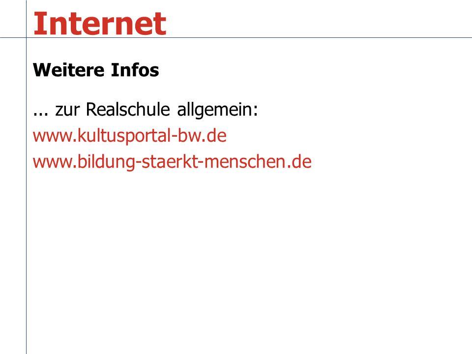 Weitere Infos... zur Realschule allgemein: www.kultusportal-bw.de www.bildung-staerkt-menschen.de Internet