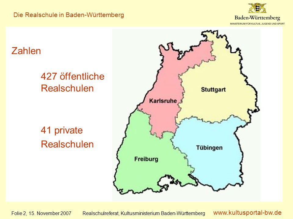 www.kultusportal-bw.de Realschulreferat, Kultusministerium Baden-Württemberg Die Realschule in Baden-Württemberg Folie 2, 15.