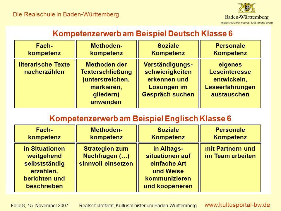 www.kultusportal-bw.de Realschulreferat, Kultusministerium Baden-Württemberg Die Realschule in Baden-Württemberg Folie 8, 15.