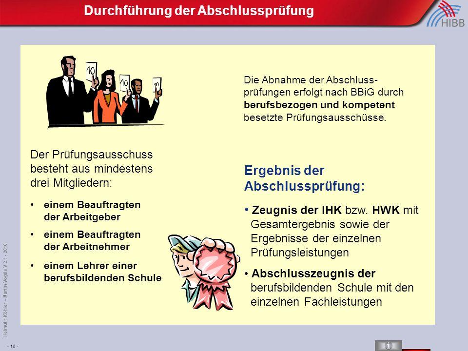 - 18 - Helmuth Köhler – Martin Vögtle V 2.1 - 2010 Die Abnahme der Abschluss- prüfungen erfolgt nach BBiG durch berufsbezogen und kompetent besetzte Prüfungsausschüsse.