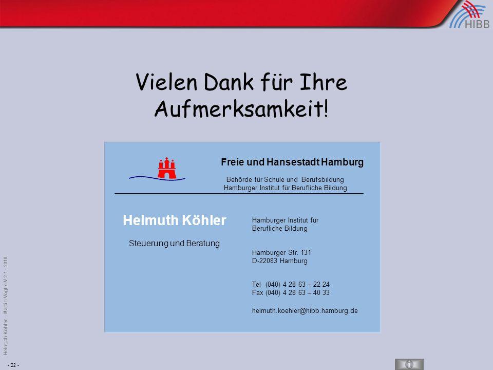 - 22 - Helmuth Köhler – Martin Vögtle V 2.1 - 2010 Vielen Dank für Ihre Aufmerksamkeit.