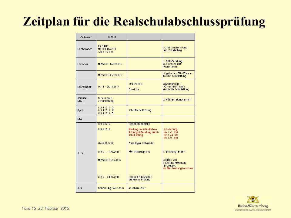 Zeitplan für die Realschulabschlussprüfung Folie 15, 23. Februar 2015