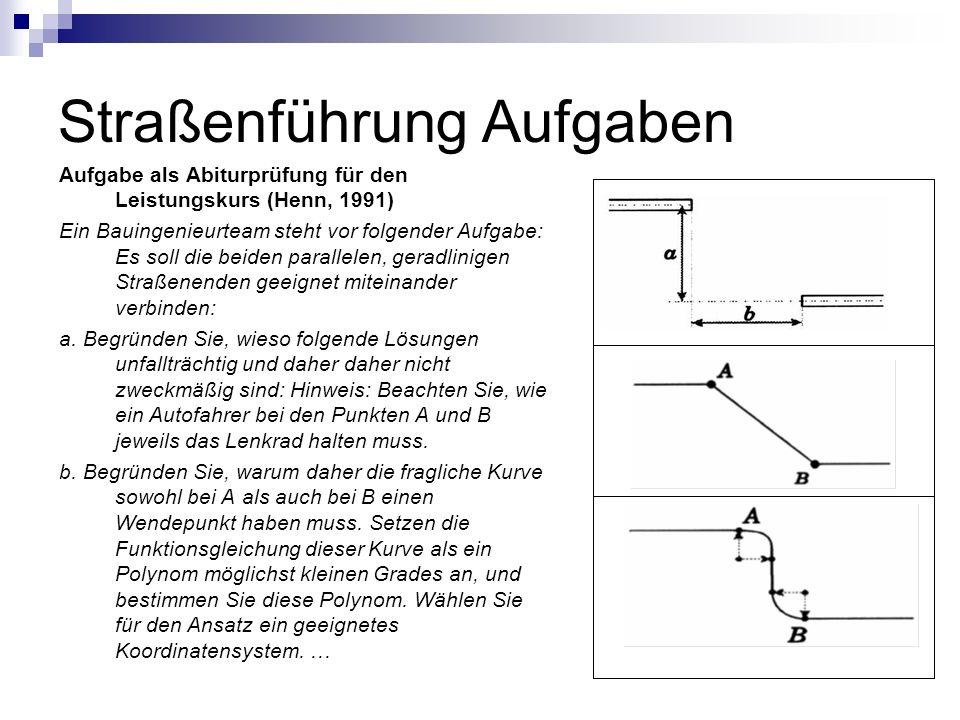 Straßenführung Aufgaben Aufgabe als Abiturprüfung für den Leistungskurs (Henn, 1991) Ein Bauingenieurteam steht vor folgender Aufgabe: Es soll die bei