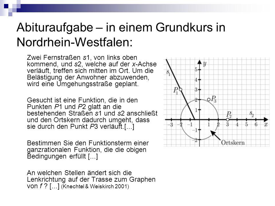 Abituraufgabe – in einem Grundkurs in Nordrhein-Westfalen: Zwei Fernstraßen s1, von links oben kommend, und s2, welche auf der x-Achse verläuft, treffen sich mitten im Ort.