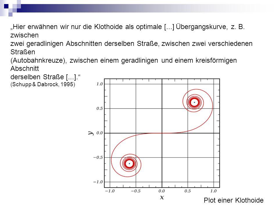 """""""Hier erwähnen wir nur die Klothoide als optimale [...] Übergangskurve, z. B. zwischen zwei geradlinigen Abschnitten derselben Straße, zwischen zwei v"""