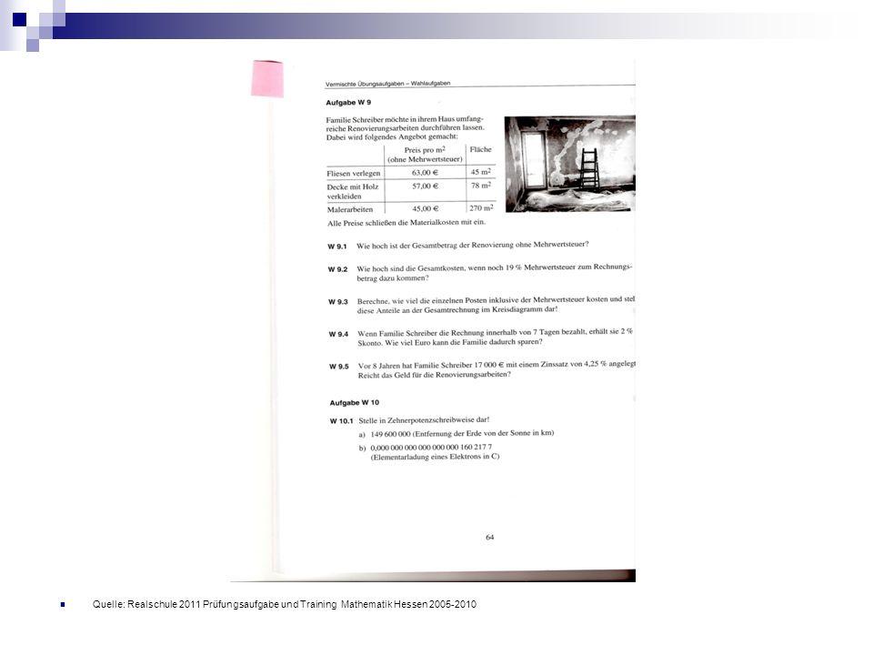 Quelle: Realschule 2011 Prüfungsaufgabe und Training Mathematik Hessen 2005-2010