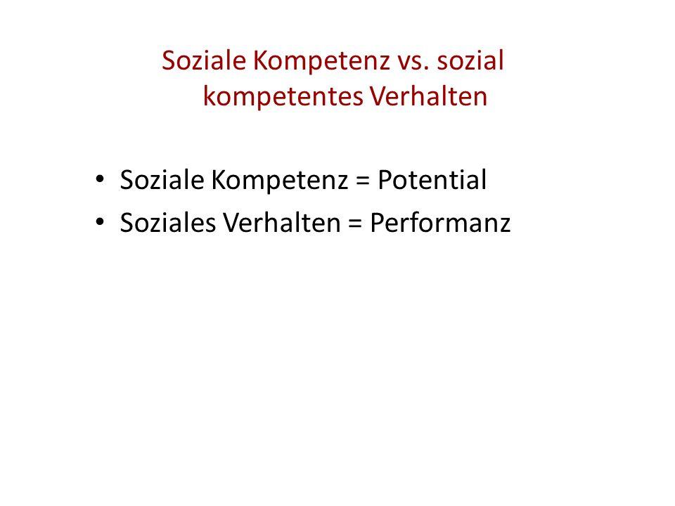 Soziale Kompetenz vs. sozial kompetentes Verhalten Soziale Kompetenz = Potential Soziales Verhalten = Performanz