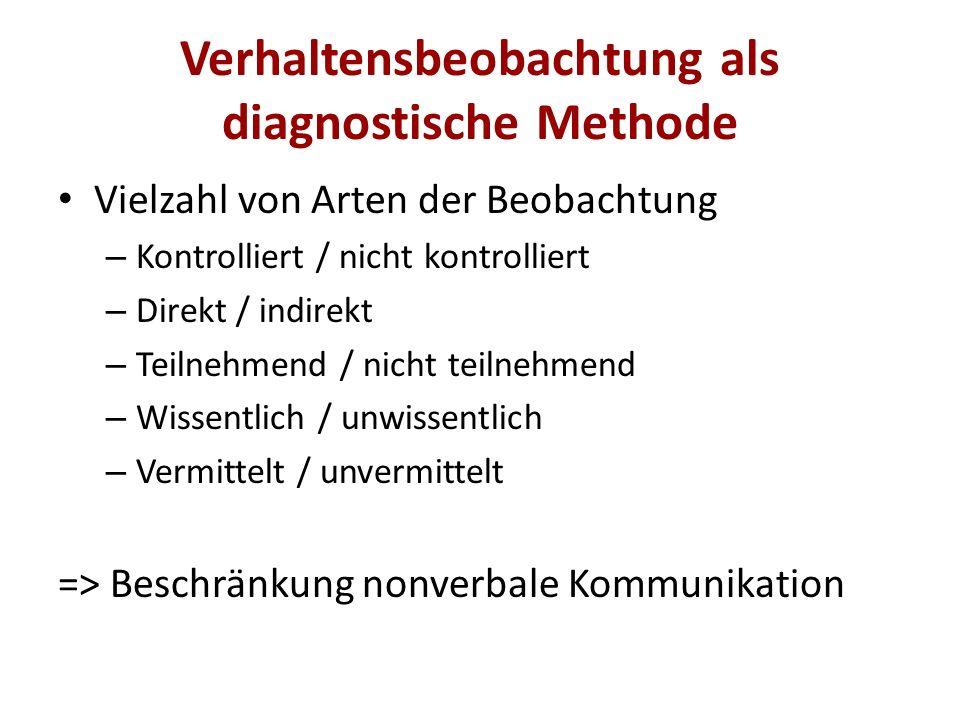 Verhaltensbeobachtung als diagnostische Methode Vielzahl von Arten der Beobachtung – Kontrolliert / nicht kontrolliert – Direkt / indirekt – Teilnehme