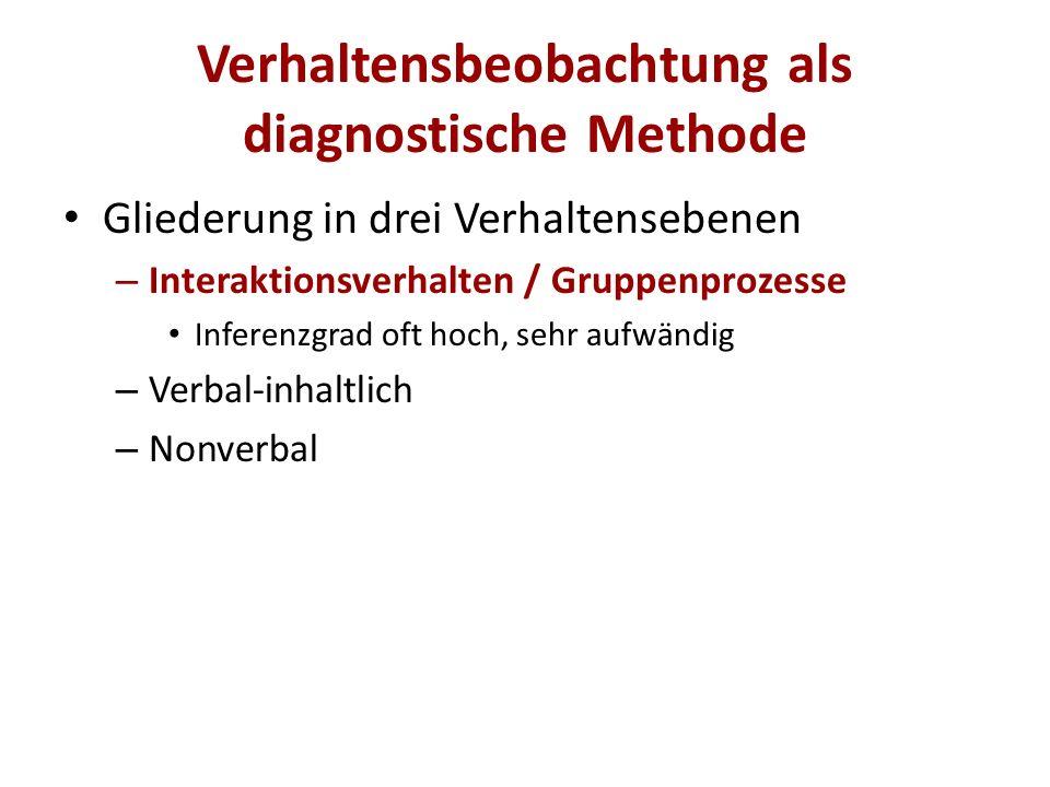 Verhaltensbeobachtung als diagnostische Methode Gliederung in drei Verhaltensebenen – Interaktionsverhalten / Gruppenprozesse – Verbal-inhaltlich Weit verbreitet Z.B.
