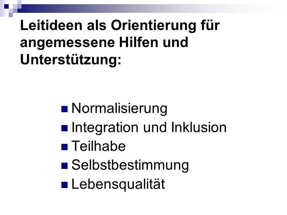Leitideen als Orientierung für angemessene Hilfen und Unterstützung: Normalisierung Integration und Inklusion Teilhabe Selbstbestimmung Lebensqualität