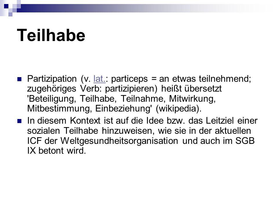 Teilhabe Partizipation (v.