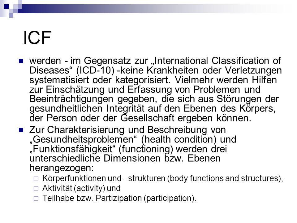 """ICF werden - im Gegensatz zur """"International Classification of Diseases (ICD-10) -keine Krankheiten oder Verletzungen systematisiert oder kategorisiert."""