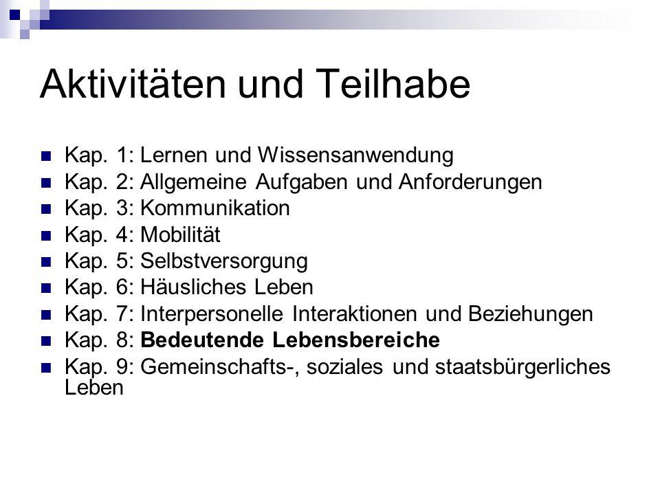 Aktivitäten und Teilhabe Kap. 1: Lernen und Wissensanwendung Kap.