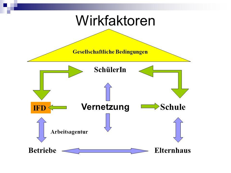 Wirkfaktoren Gesellschaftliche Bedingungen SchülerIn Elternhaus Schule IFD Betriebe Arbeitsagentur Vernetzung