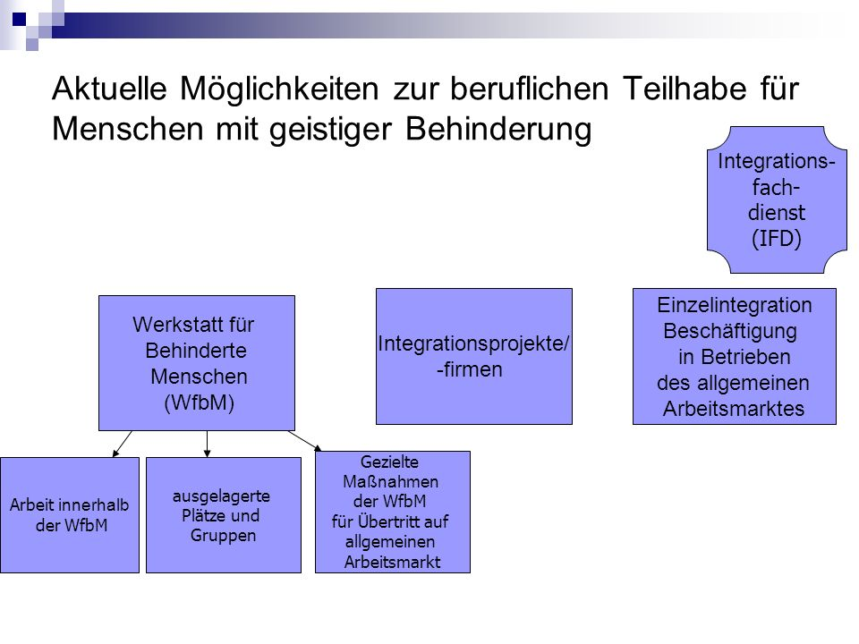 Aktuelle Möglichkeiten zur beruflichen Teilhabe für Menschen mit geistiger Behinderung Werkstatt für Behinderte Menschen (WfbM) Integrationsprojekte/ -firmen Einzelintegration Beschäftigung in Betrieben des allgemeinen Arbeitsmarktes Arbeit innerhalb der WfbM ausgelagerte Plätze und Gruppen Gezielte Maßnahmen der WfbM für Übertritt auf allgemeinen Arbeitsmarkt Integrations- fach- dienst (IFD)