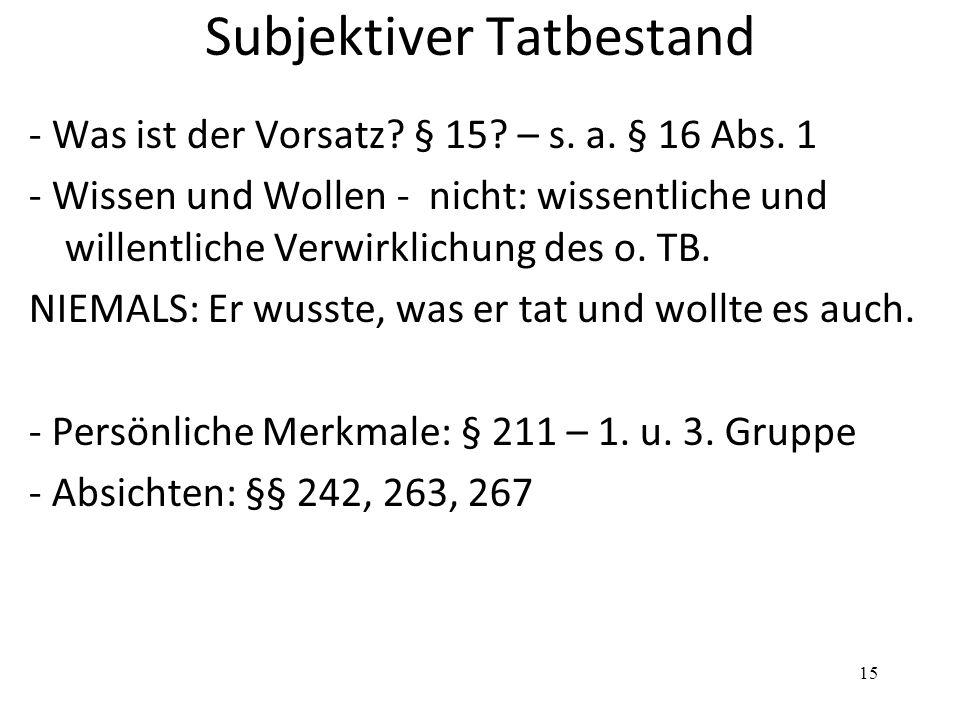 Subjektiver Tatbestand - Was ist der Vorsatz. § 15.